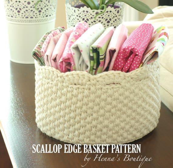 Crochet Basket Pattern - Round Scallop Edge Basket - PDF #storage #organization #organisation #crafty #craft #makemoney #sellcrafts #diy #crochetcraft
