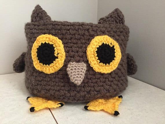 Crochet Owl Storage Basket Pattern - 3 Basket Sizes #storage #organization #organisation #crafty #craft #makemoney #sellcrafts #diy #crochetcraft