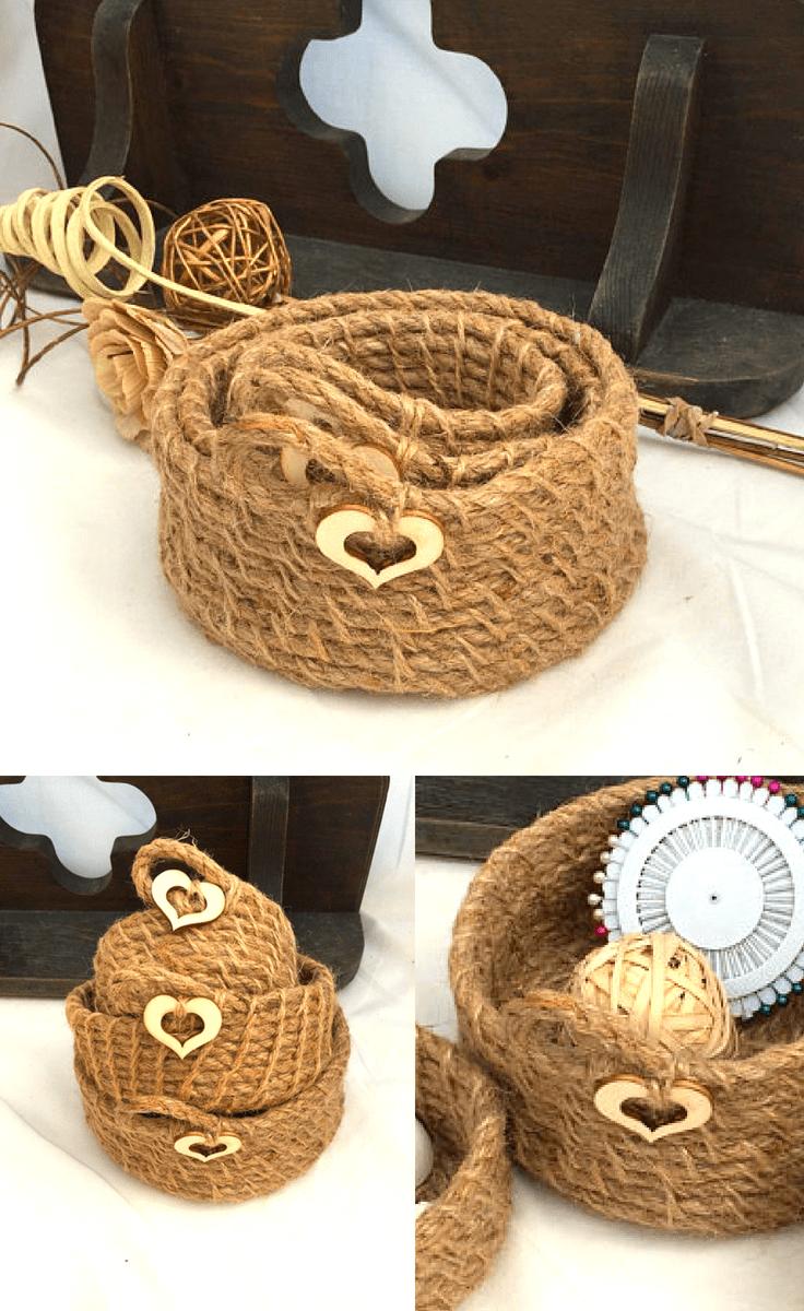 Rustic jute Baskets #homedecor #decor #home #farmhouse #farmhousehomedecor #homedecorideas #farmhousedecorideas #farmhousedecor #handmade #decorideas #rustic #rustichomedecor