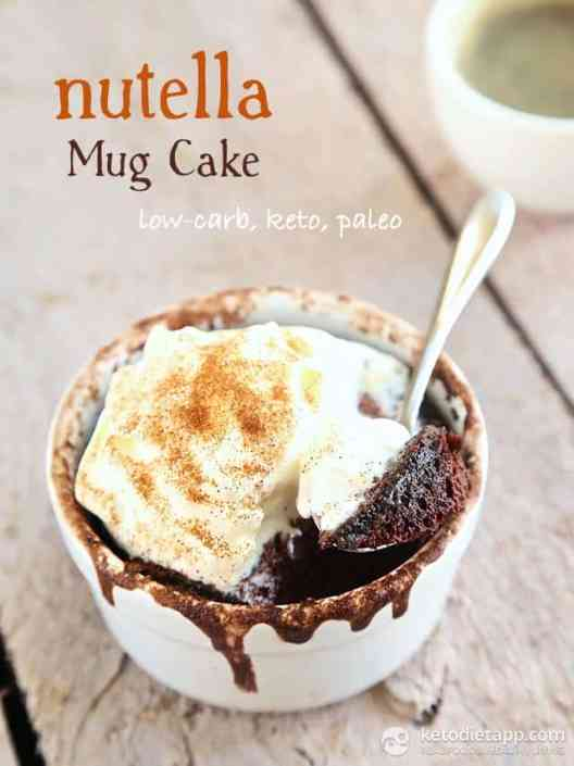 12 Delicious Keto Mug Cakes That Will Keep You In Ketosis (and Satisfy Your Sweet Tooth) #keto #ketodiet #ketomugcake #nutellamugcake