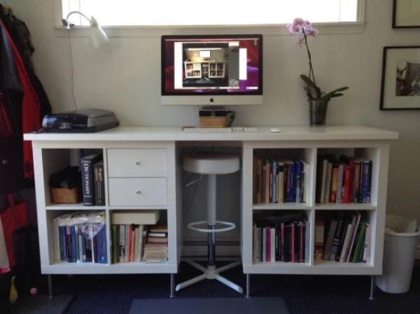 Easy ikea Kallax Standing Desk hack & office storage idea