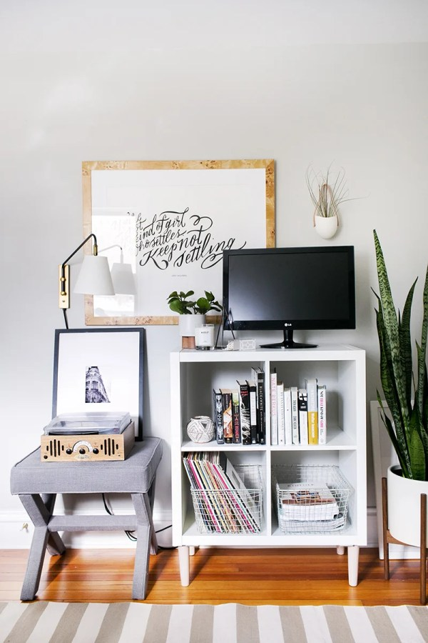 Small Ikea Kallax tv Stand and media centre