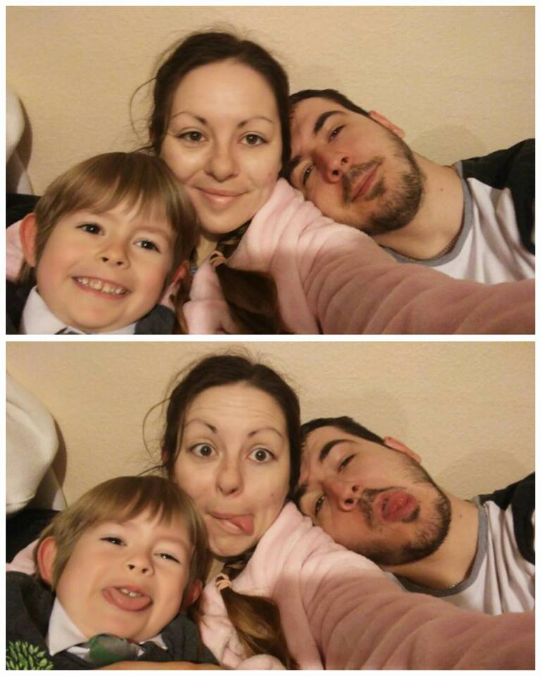 family silliness, telling the toddler he's having a sister