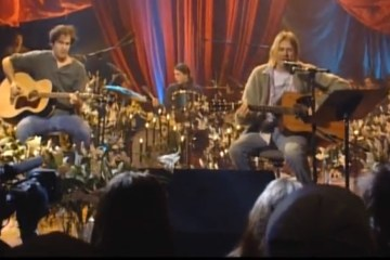 Nirvana performing during MTV Unplugged in New York