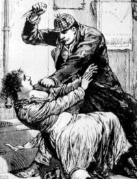Jack the Ripper attacks a woman