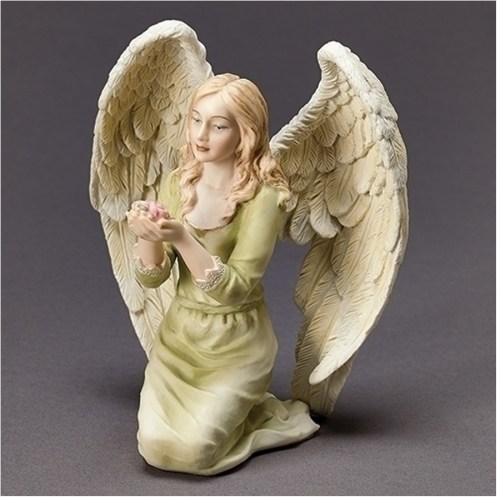 Kneeling Angel holding Flowers