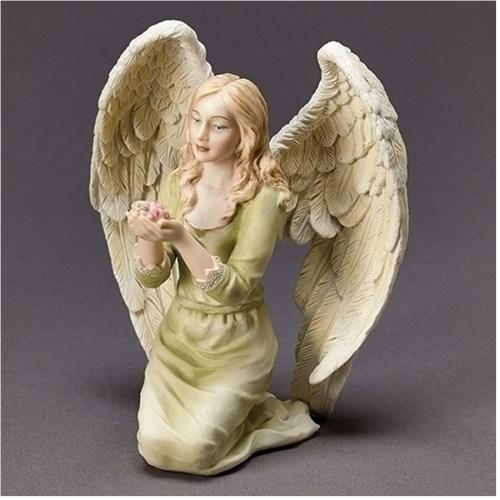 Kneeling Angel holding Flowers