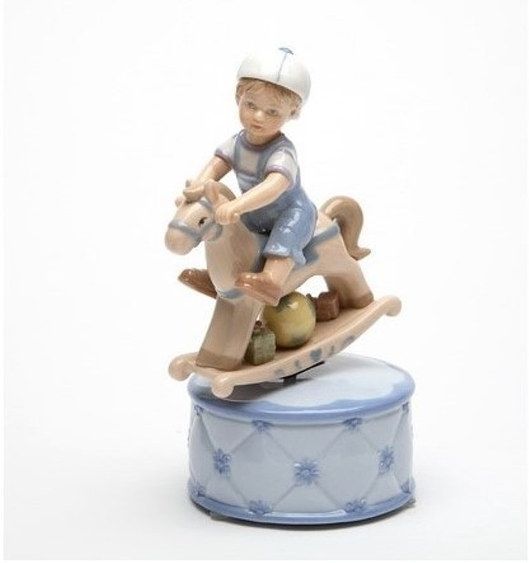 Porcelain Boy with Rocking Horse Musical