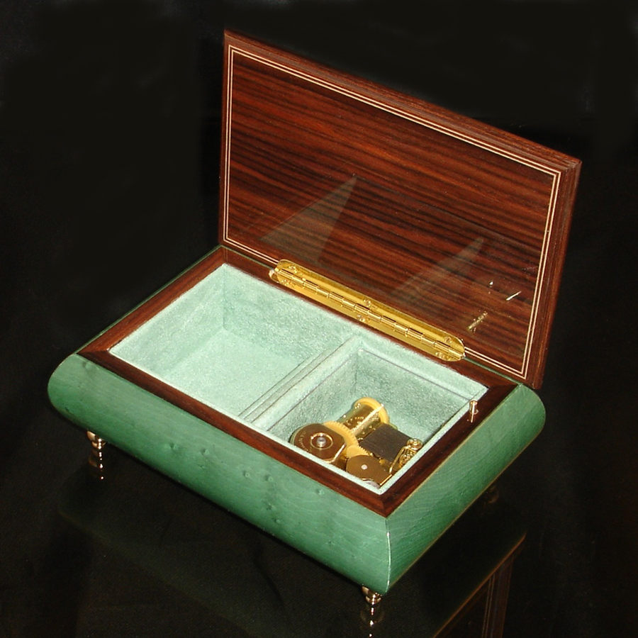 Italian Inlaid musical jewelry box 04 CF Green-AS