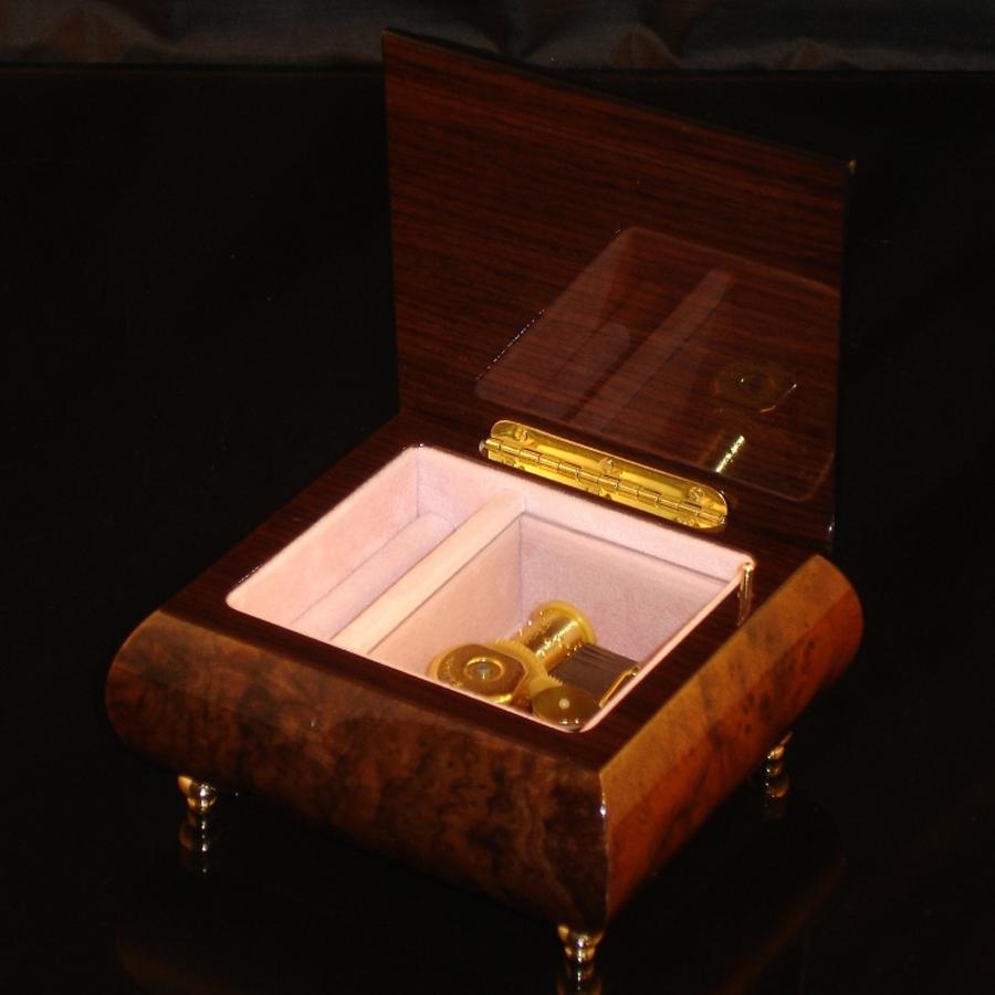 Italian Jewelry Box Burl Walnut 17Rose opened no cover