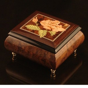 Italian Jewelry Box Burl Walnut 17Rose
