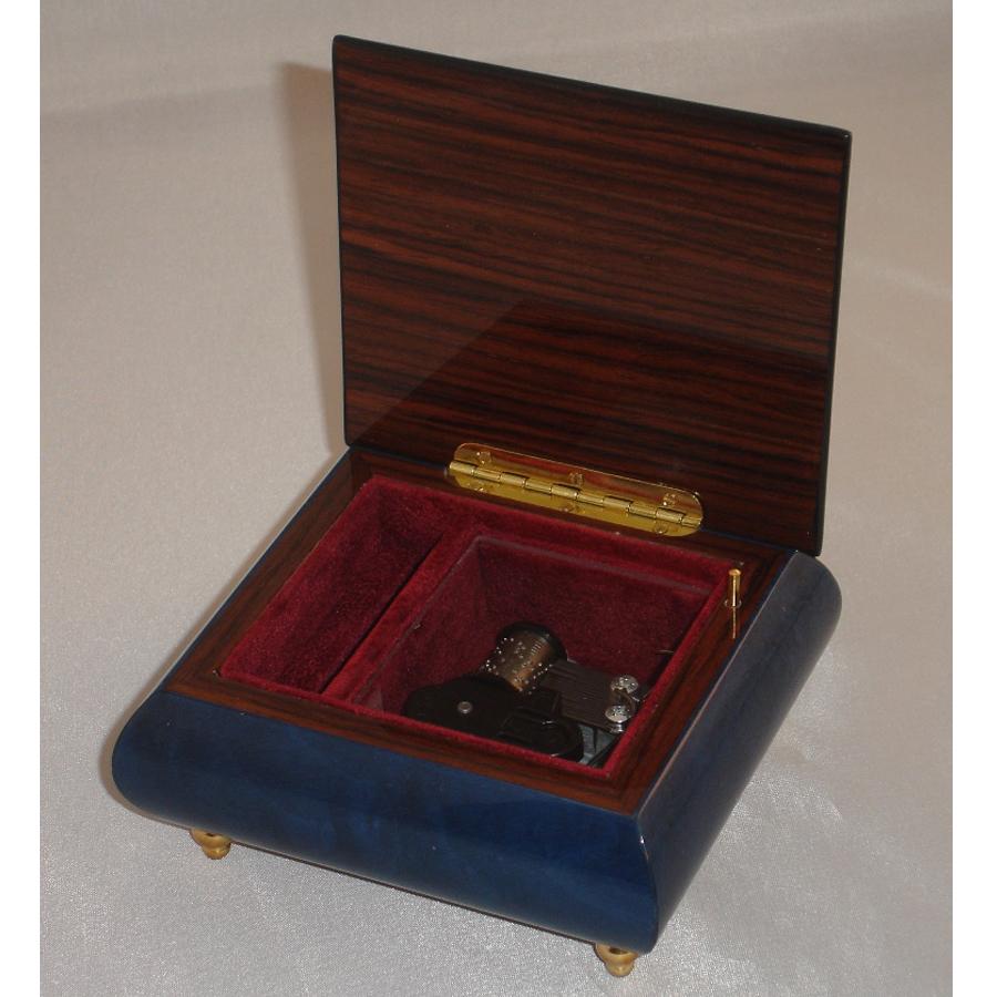 Italian Jewelry Box Dark Blue 17Rose opened no cover