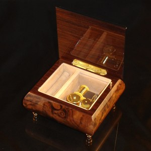 Italian Jewelry Box Burl Walnut 17A opened no cover