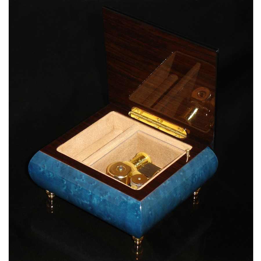 Italian Jewelry Box Dark Blue 17A opened no cover