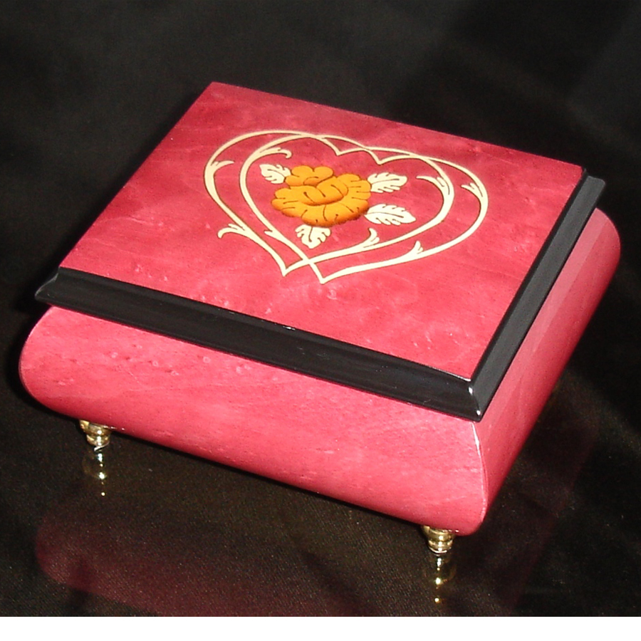 Italian Jewelry Box Heart 17CC Wine Red