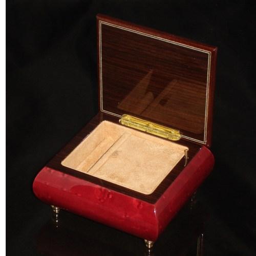Italian Jewelry Box Double Heart Wine Red 17CC opened