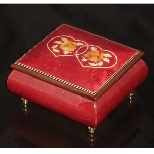Italian Jewelry Box Double Heart Wine Red 17CC
