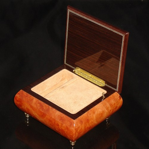 Italian Jewelry Box Burl Elm 17CF opened