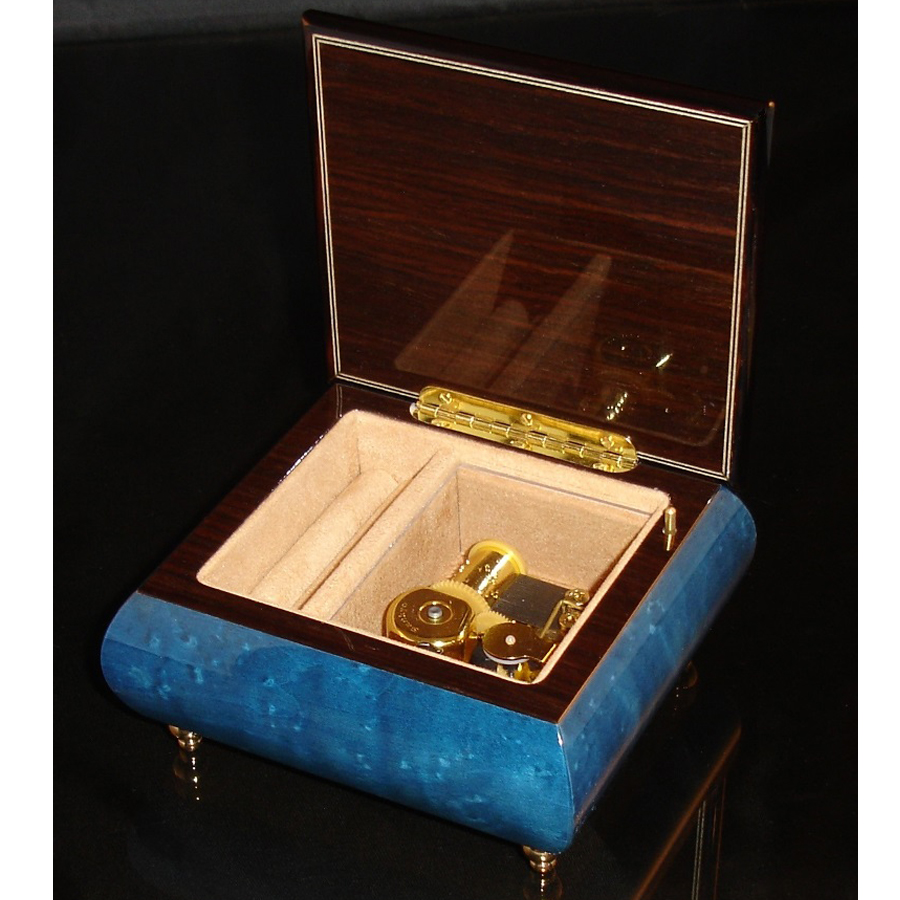 Italian Jewelry Box Dark Blue 17CVM opened no cover Black Trim