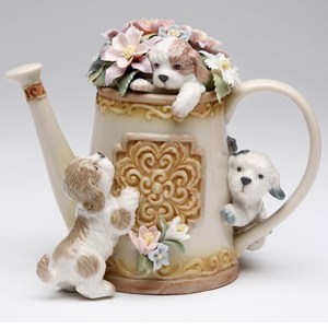 Porcelain Musical 3 Puppies on Watering Can