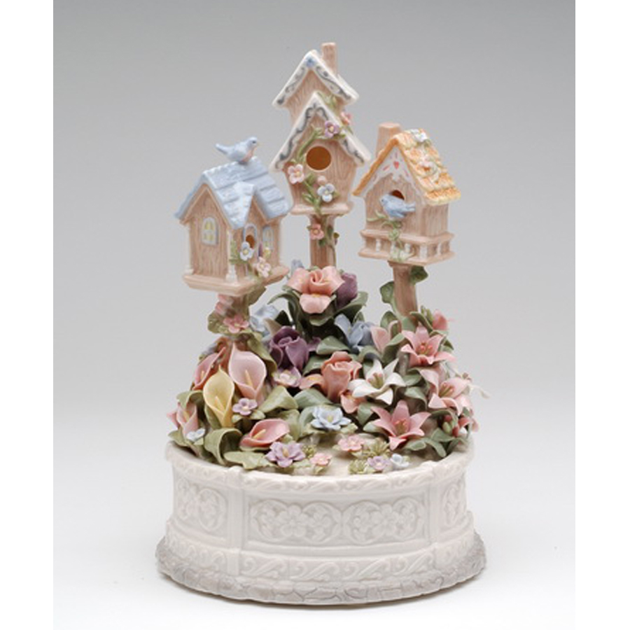 Porcelain Musical Birdhouses with flowers