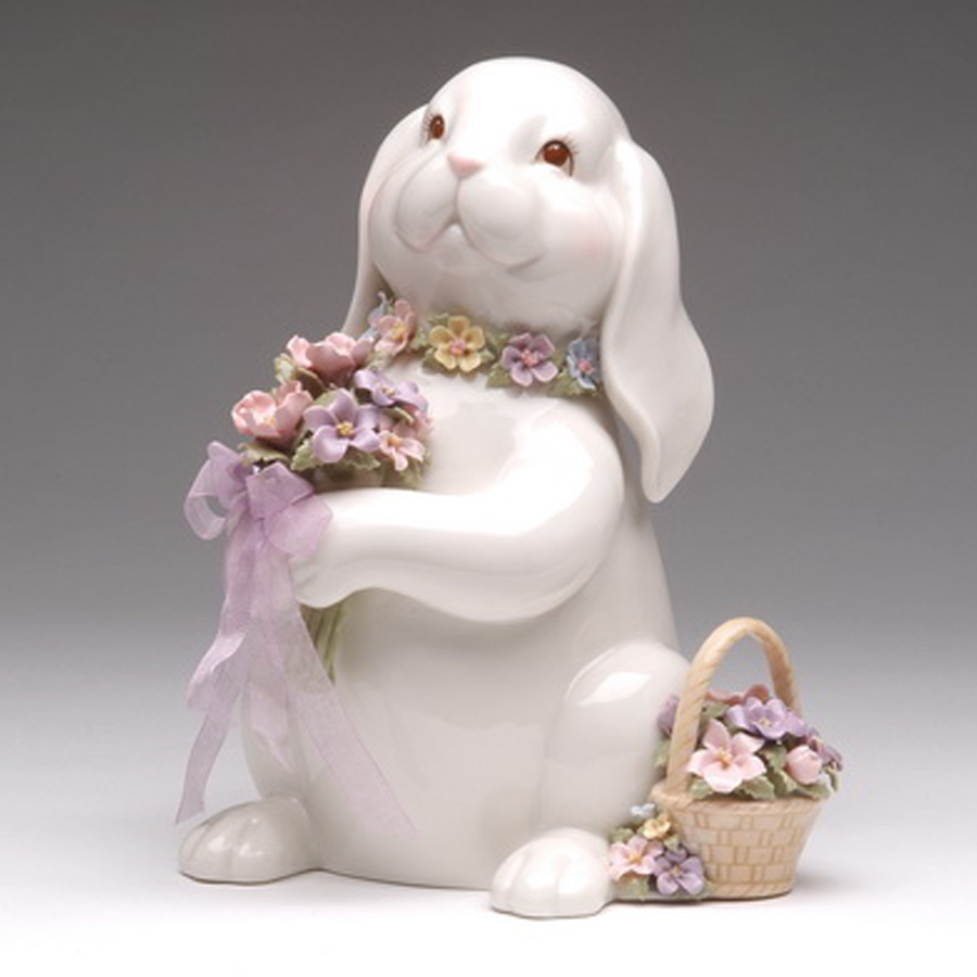 Porcelain musical Bunny with Flower Basket