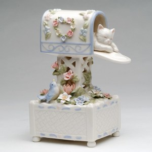 Musical Porcelain Cat in Mail Box