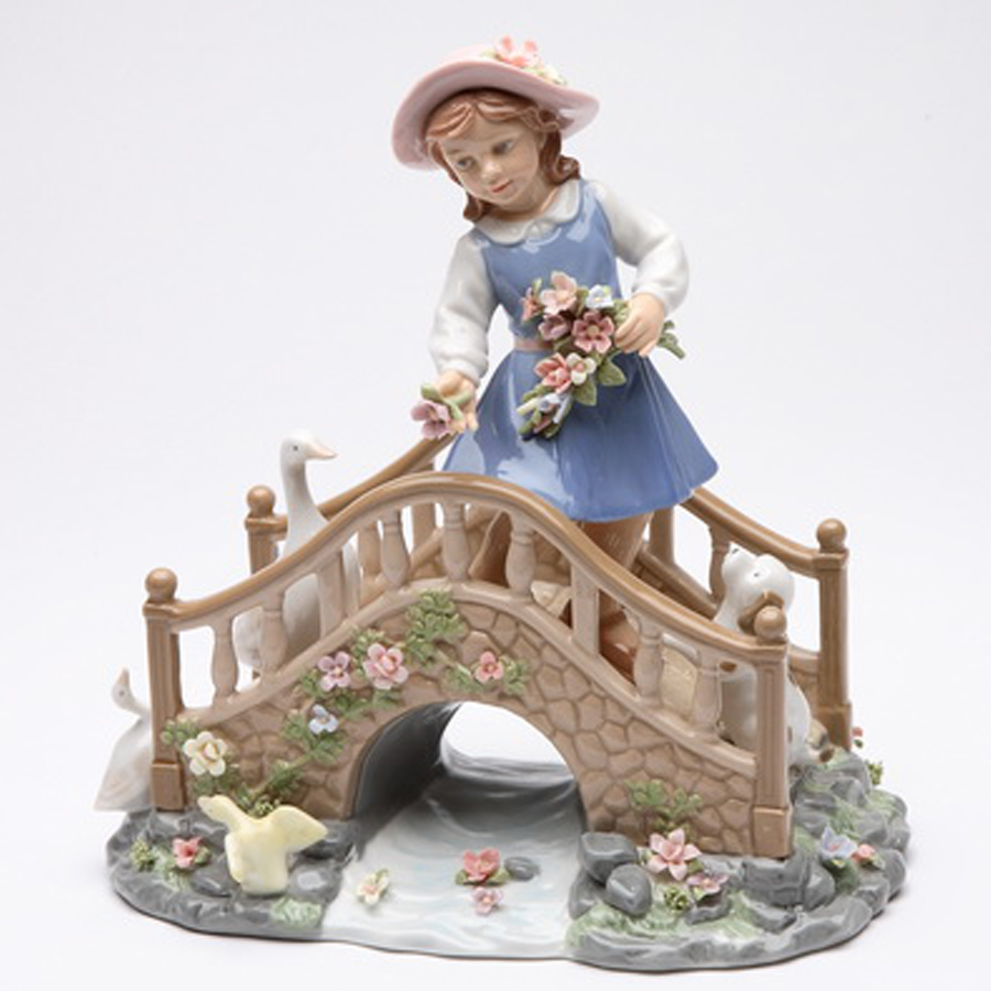 Porcelain musical Girl on Bridge