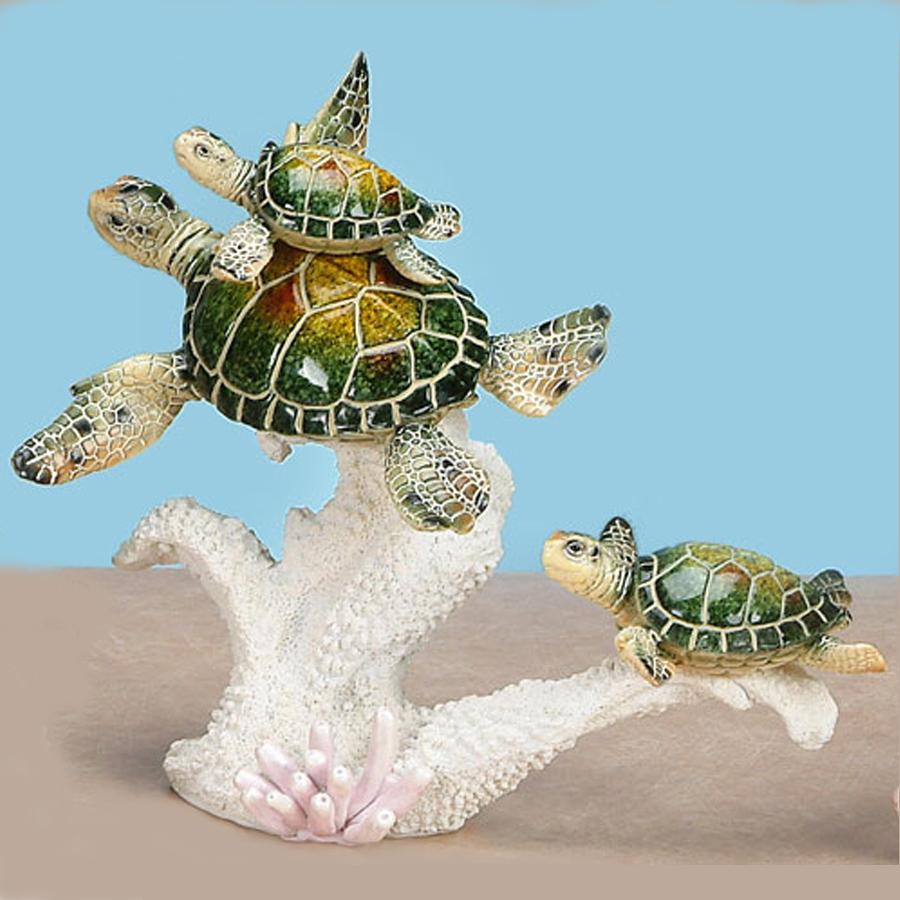 Green Sea Turtle Family on coral figurine