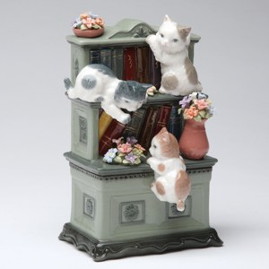 Porcelain musical Kittens on Bookshelf