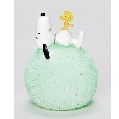 Snoopy and Woodstock on lighted snowball