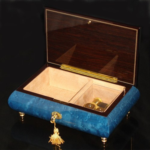 Italian Inlaid Musical Jewelry Box 02CF Dark Blue opened no cover
