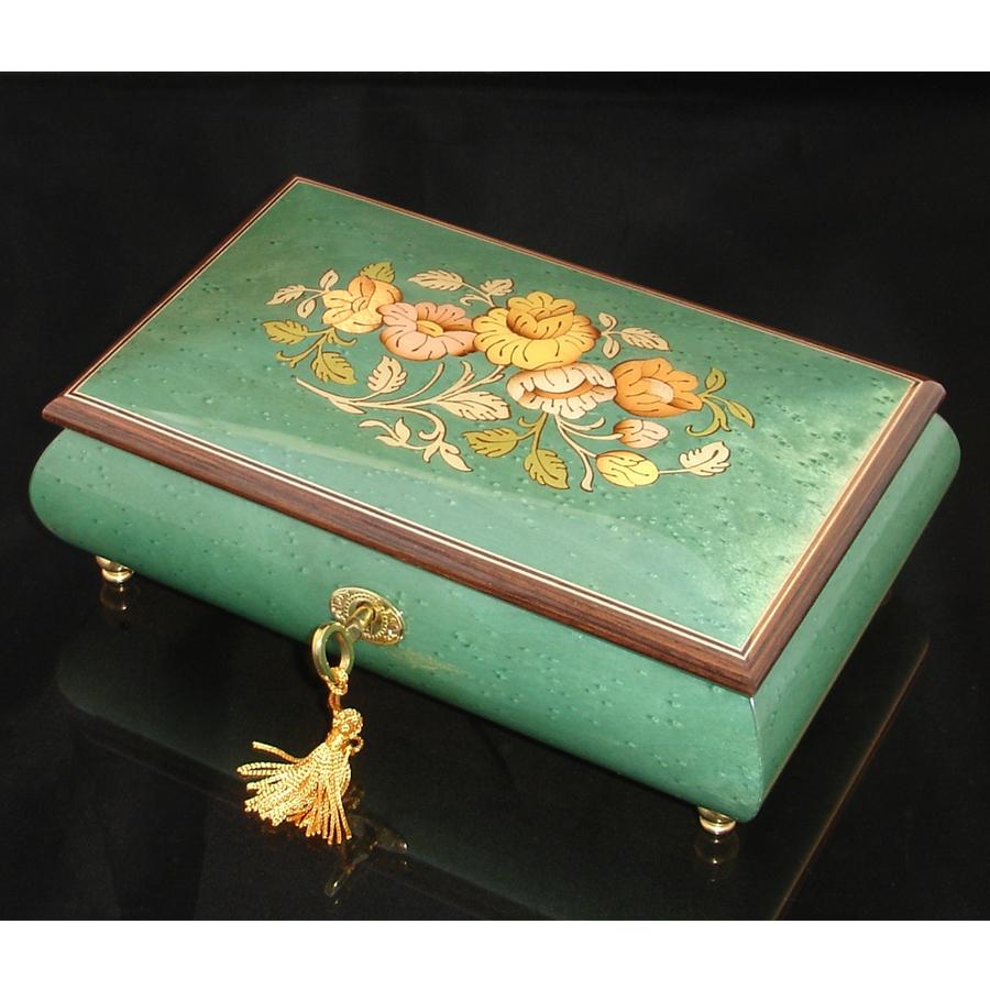 Italian Inlaid Musical Jewelry Box 02CF Green brown trim