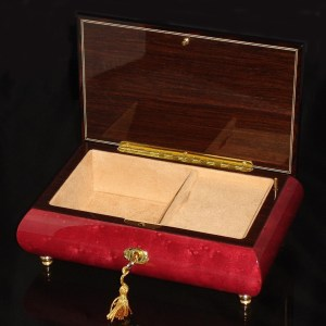 Italian Inlaid Musical Jewelry Box 02CF Wine Red opened