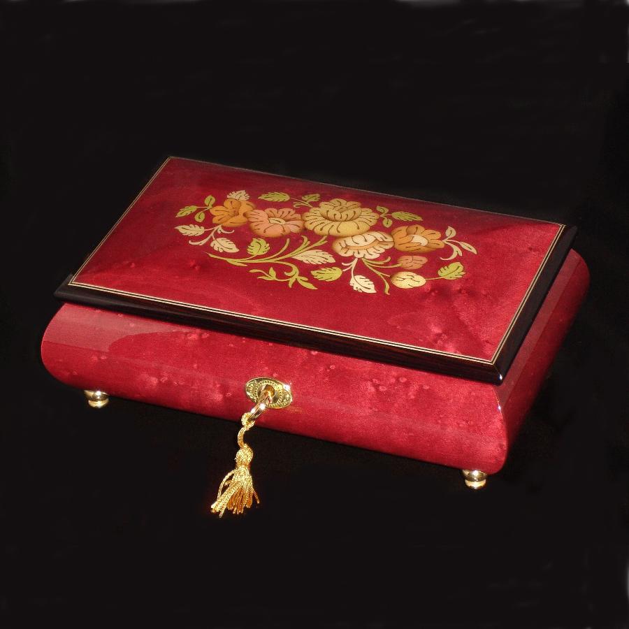 Italian Inlaid Musical Jewelry Box 02CF Wine Red
