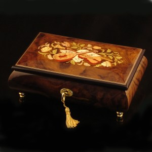 Italian Inlaid Musical Jewelry Box 02CVMBurl Walnut