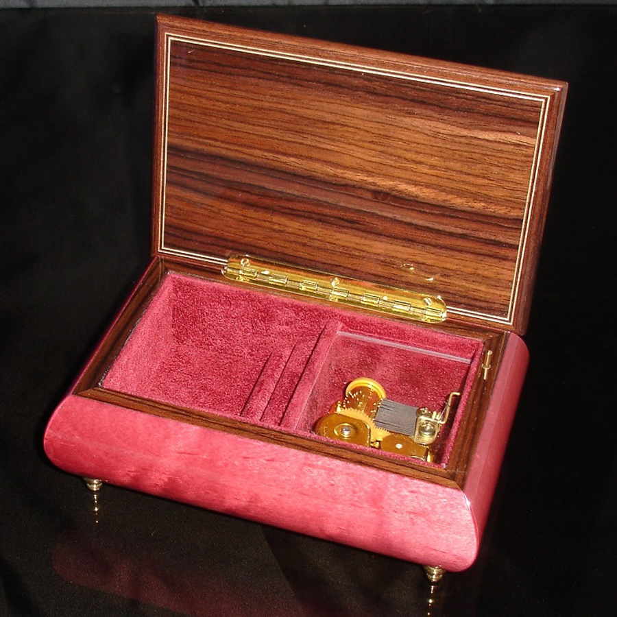 Italian Jewelry Box Wine Red 04A opened no cover