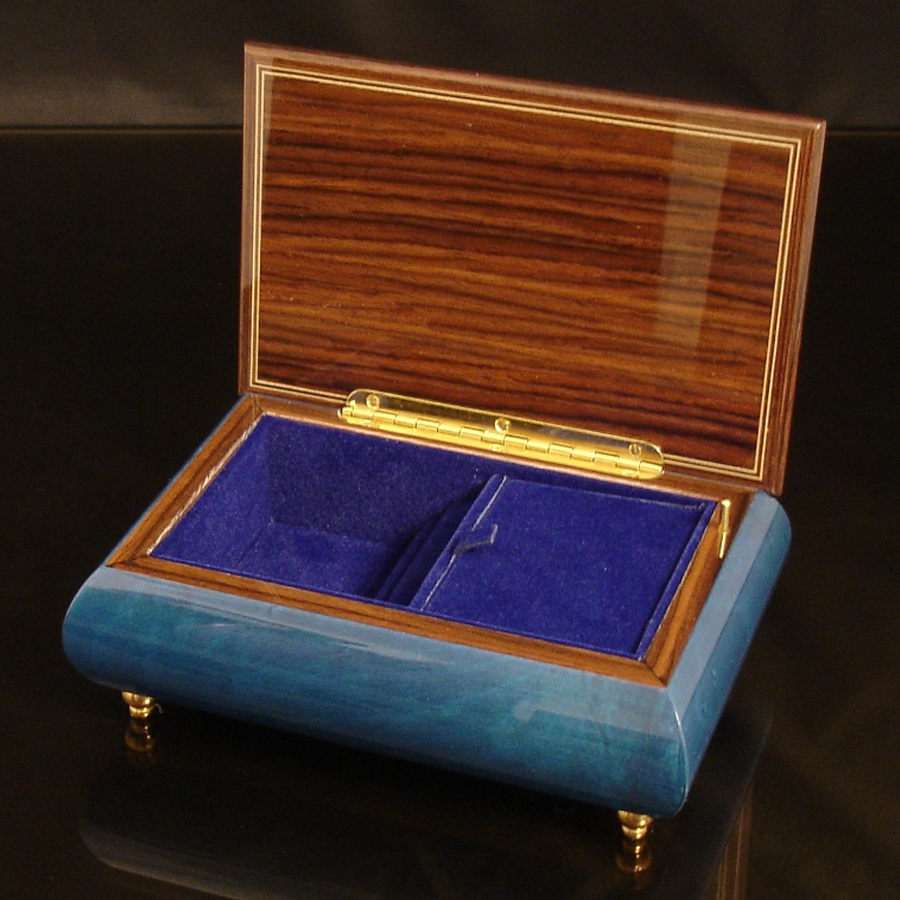 Italian Jewelry Box Dark Blue 04A opened no cover