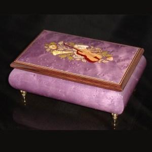 Italian Inlaid Musical Jewelry Box 02CF Plum