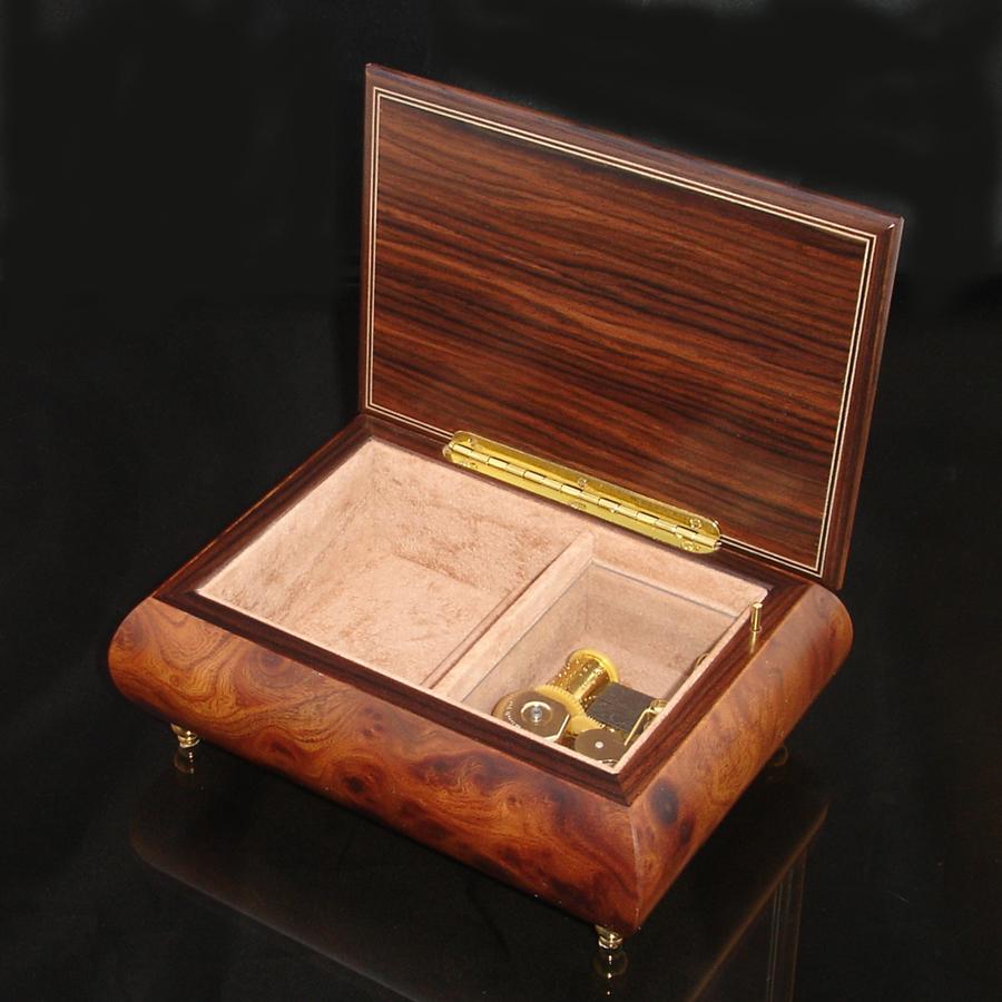 Italian Jewelry Box Dark Elm 2462 opened no cover