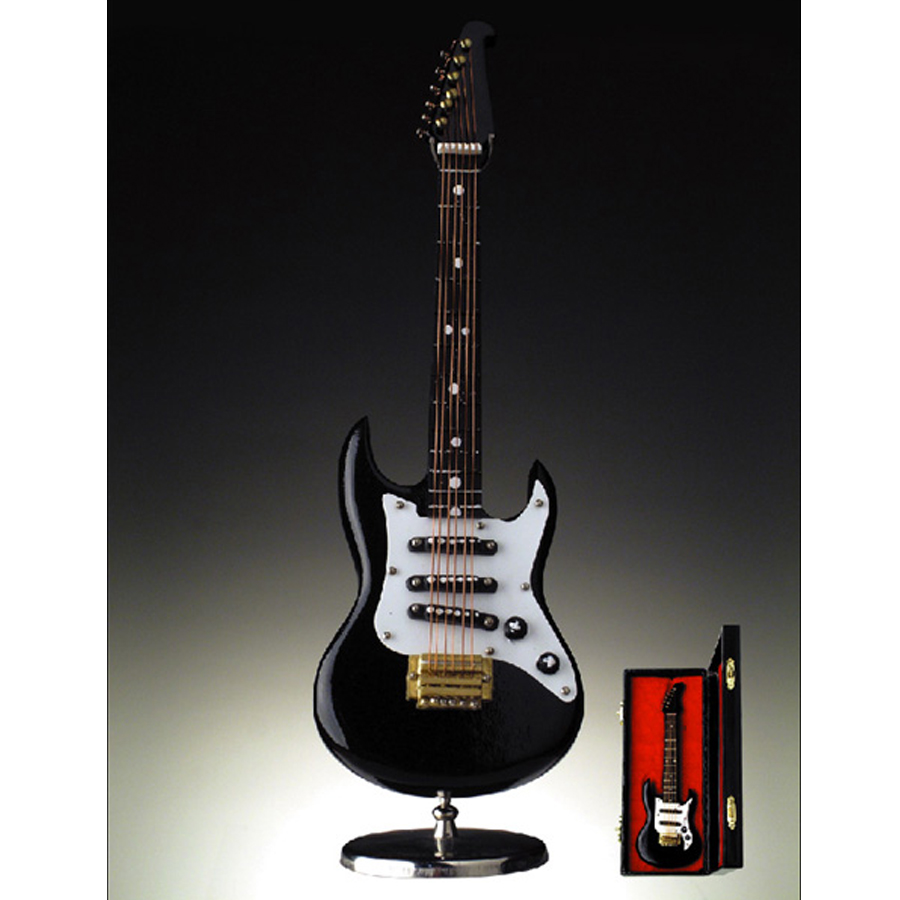 Miniature Black Electric Guitar with stand and case GO3-H