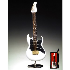 Miniature White Electric Guitar with stand and case