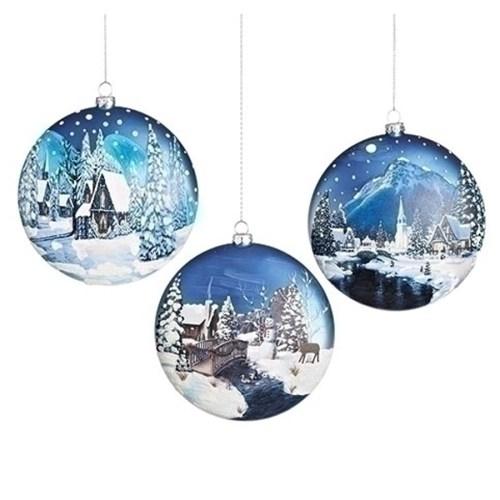 Ornaments Winter Scenes in Blue Glass
