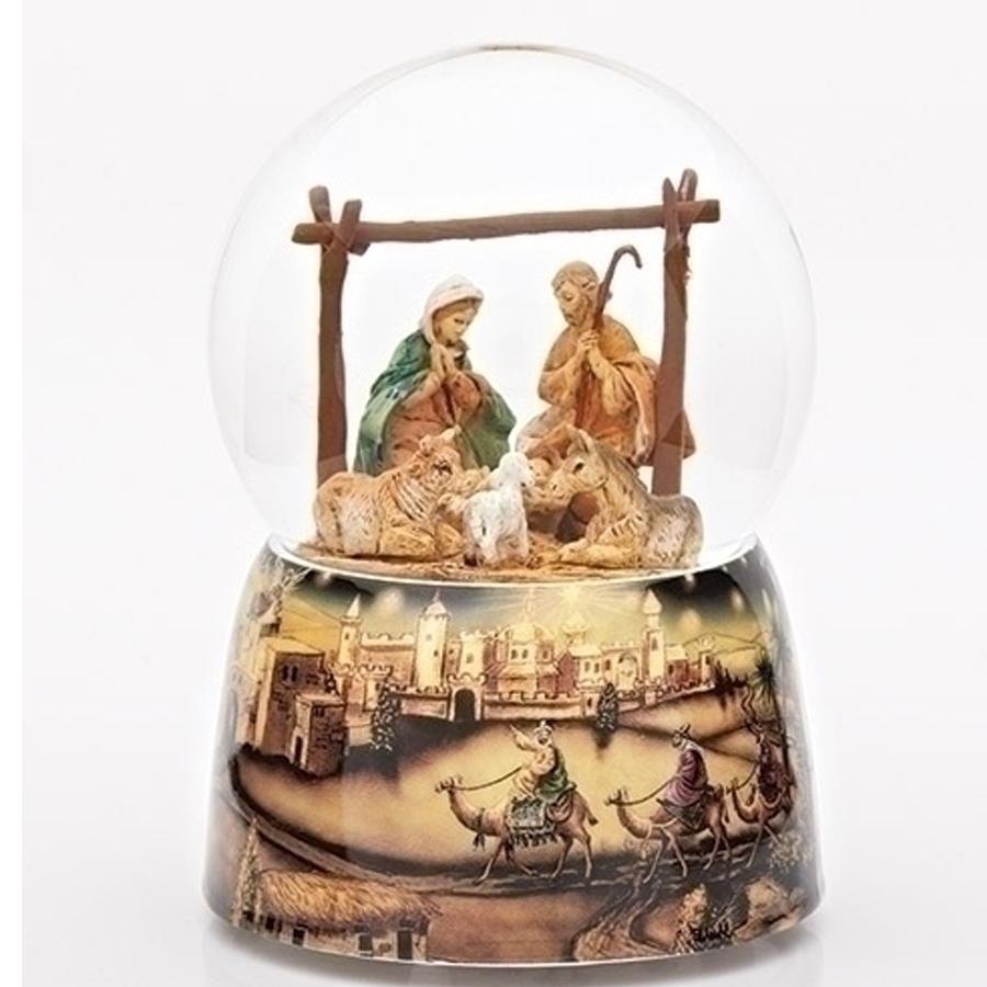 Nativity musical globe with Jerusalem base