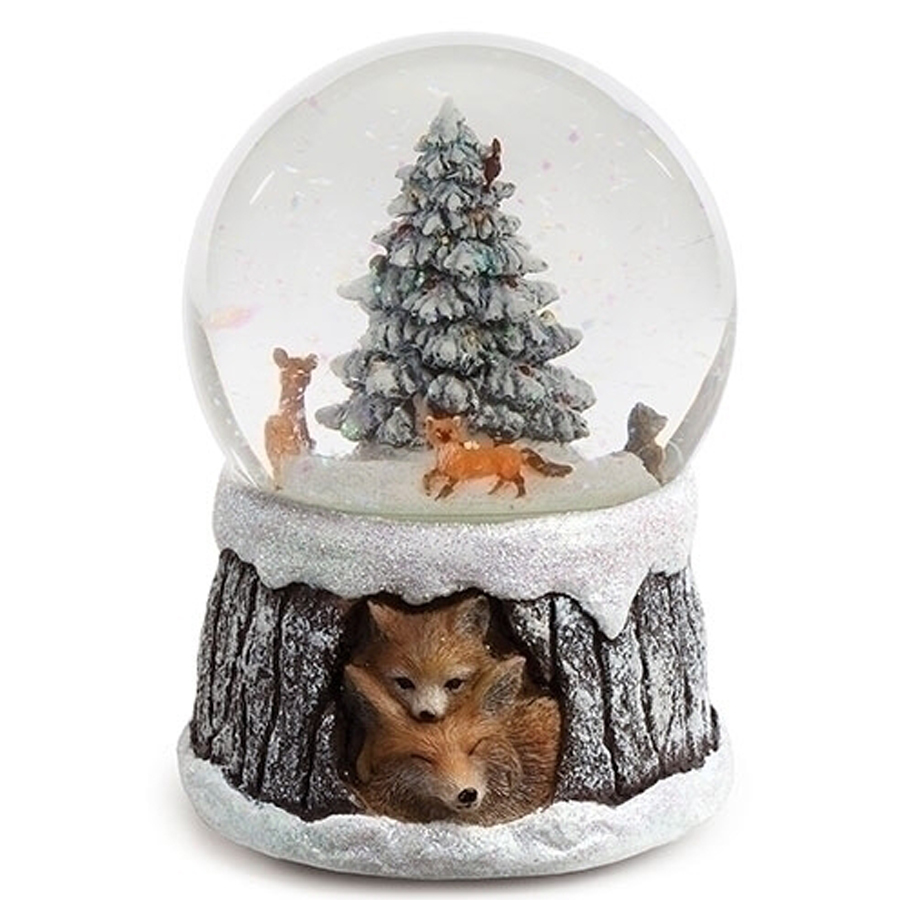 Musical Snow Globe with animated animals inside and a birch base with foxes looking out
