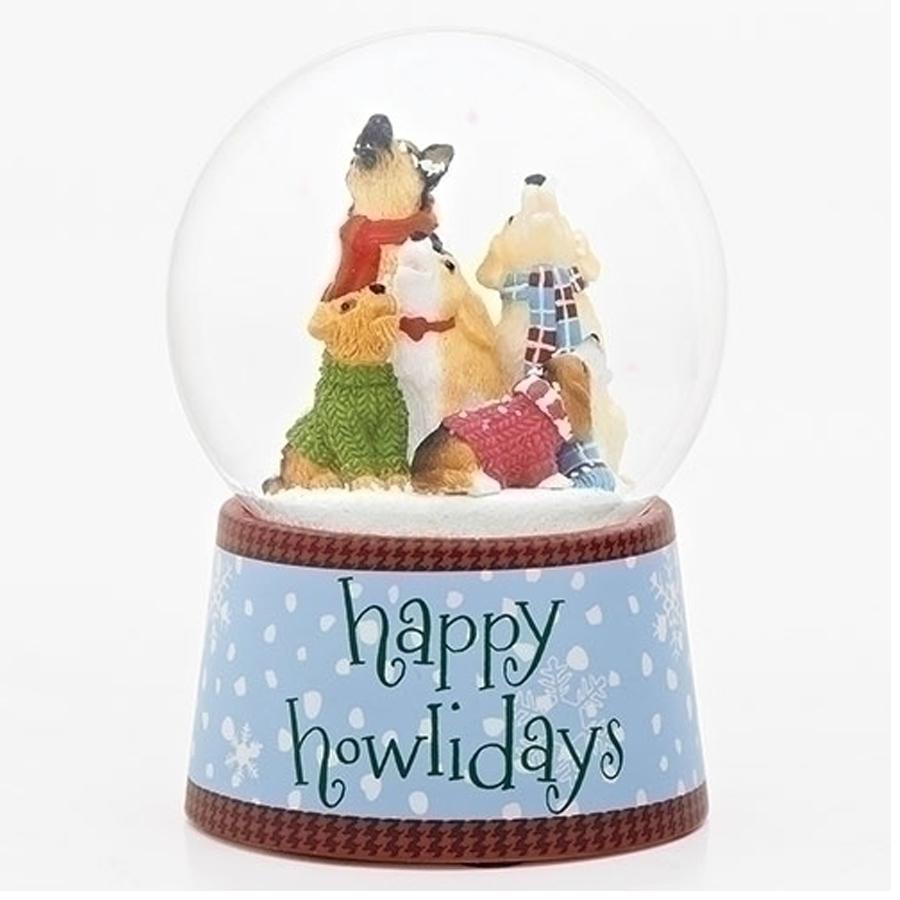 Adorable dog musical snow globe