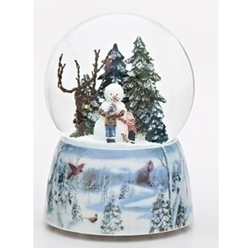 Beautiful Musical Snow Globe with kids making a snowman and a winter scene porcelain base