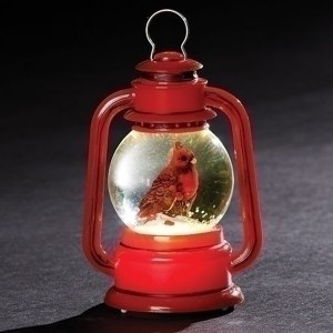 Miniature red lantern with a Cardinal inside the globe