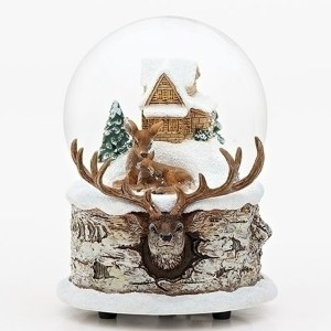 Musical Water Globe with a mom and baby deer and a cabin inside the globe and beautiful buck deer base