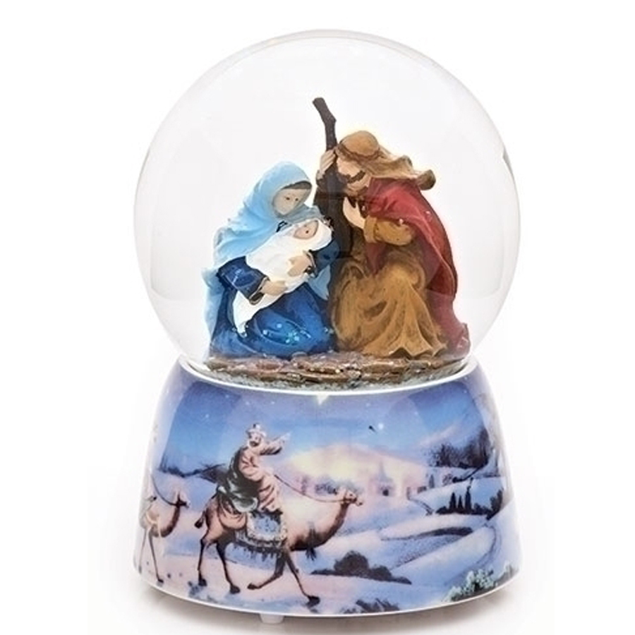 Nativity scene musical globe with blue base